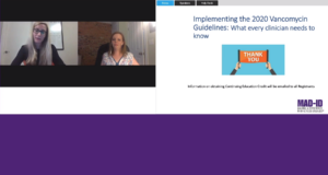 two people presenting a webinar on implementing the 2020 vancomycin guidelines